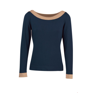 Zilch Damen Bamboo Pullover Two Tone Navy